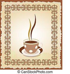 cadre, tasse, thé, illustration