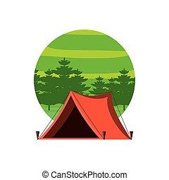 cadre, tente, camping, circulaire