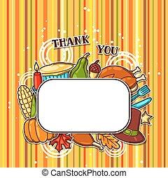 cadre, thanksgiving, objets, vacances, jour, heureux