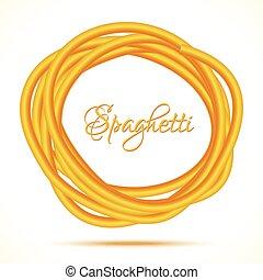cadre, tordu, réaliste, pâtes, cercle, spaghetti