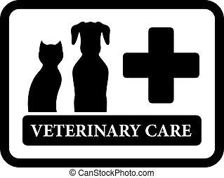 cadre, vétérinaire, noir, icône, soin