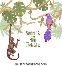 cadre, vecteur, arbres, design., animals., illustration, exotique, ton