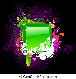 cadre, vecteur, coloré, orné
