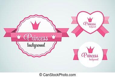 cadre, vecteur, couronne, princesse, illustration