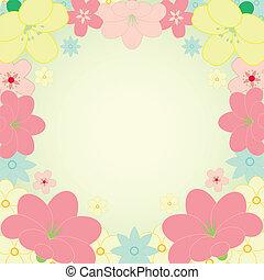 cadre, vecteur, fleur, carte