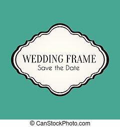 cadre, vecteur, mariage, date, sauver, image