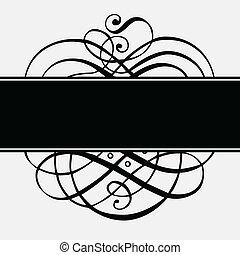 cadre, vecteur, noir, ornements