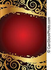 cadre, vecteur, ornement, rouges, or