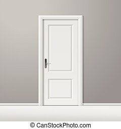 cadre, vecteur, porte, blanc, fermé
