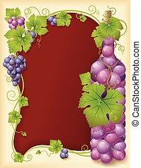 cadre, vecteur, raisin, bouteille