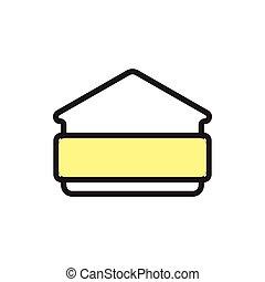cadre, vecteur, symbole, texte, maison
