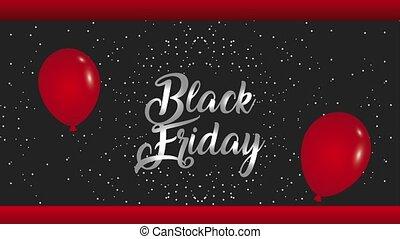cadre, vendredi, animation, noir, publicité, fond, confetti, ballons, hd, rouges