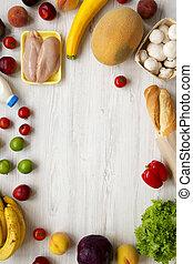 cadre, vert, aérien, épicerie, vue, milk., sommet, cuisine, arrière-plan., divers, fruits, bois, blanc, achats, légumes, nourriture, viande, sain, above., frais, table., concept.