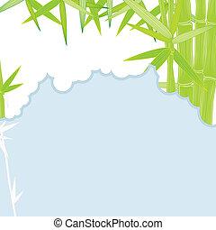 cadre, vert, bambou