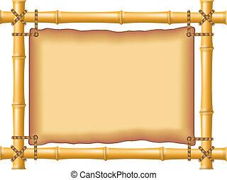 cadre, vieux, bambou, parchemin