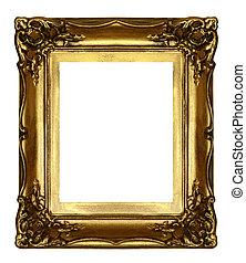 cadre, vieux, sculpté, doré