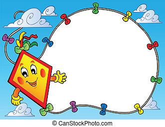 cadre, voler, dessin animé, cerf volant
