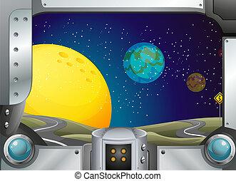 cadre, vue, métal, outerspace