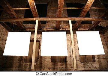 cadres, 3, blanc, murs, brique