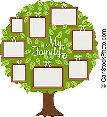 cadres, arbre vert, famille