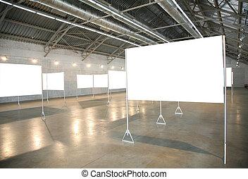 cadres, blanc, 2, salle