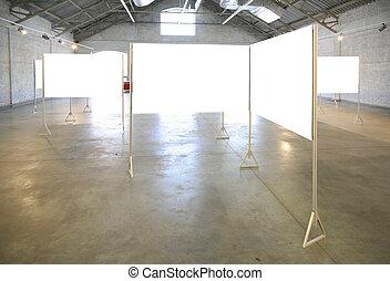 cadres, blanc, salle