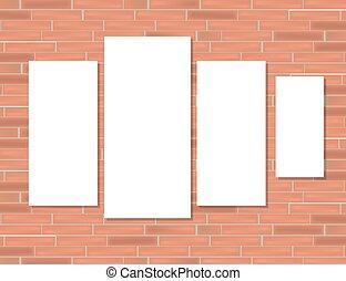 cadres, brique, rouges, vide, wall.