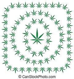 cadres, cannabis, ensemble