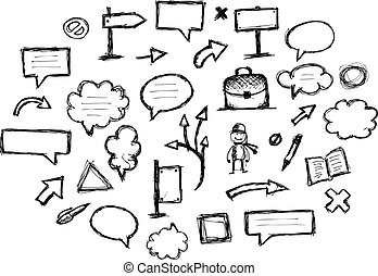 cadres, conception, croquis, flèches, ton