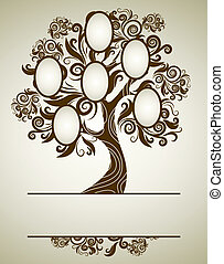cadres, conception, vecteur, arbre, famille