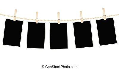 cadres, corde, clothespins., vecteur, pendre, photo