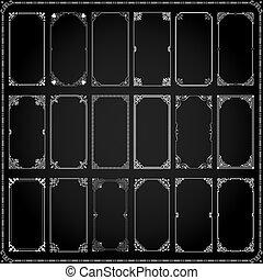 cadres, décoratif, ensemble, rectangle, 5, 2x1, frontières