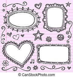 cadres, doodles, sketchy, cahier