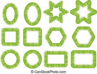 cadres, douze, ensemble, herbe verte