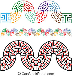 cadres, enroulement, labyrinthes, frontières, arc, sections