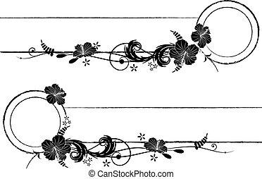 cadres, ensemble, vecteur, hibiscus
