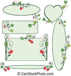 cadres, floral, fraises, ensemble, orné