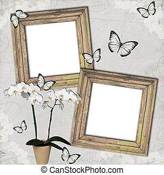 cadres, fond, bois, papillon, grange, orchidées
