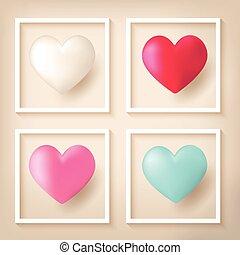 cadres, forme coeur, ballons