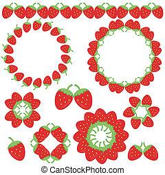 cadres, fraise, éléments