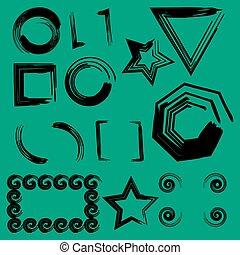 cadres, géométrique, fond, ensemble, vert