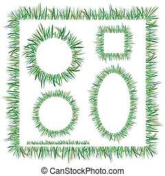 cadres, herbe, vert