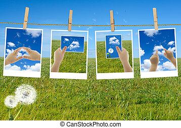 cadres, image, mains, child's, photos