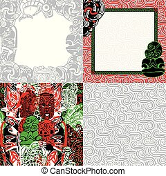 cadres, motifs, style., polynésien, backgrounds.