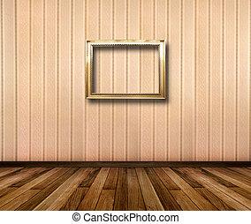 cadres, or, intérieur, rayé, bois, papier peint, salle