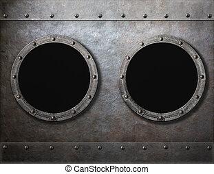 cadres, ou, bateau, métal, vieux, hublots, fond, deux, sous-marin