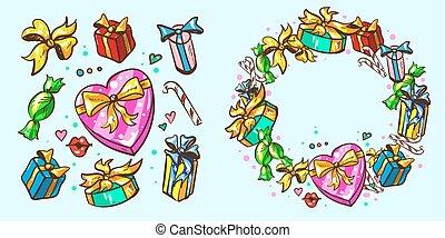 cadres, paquets, cadeau, fetes