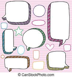 cadres, parole, vecteur, bulle, doodles