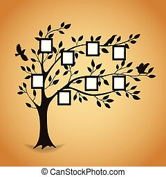 cadres, photo, arbre, famille