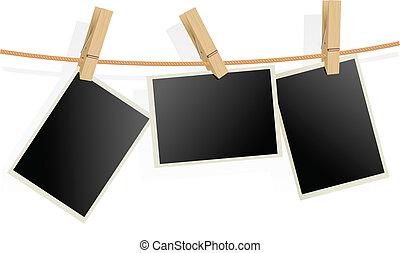 cadres, photo, corde, trois